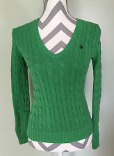 RALPH LAUREN Sport Womens V-Neck Classic Green Cable Knit Sweater Pullover Sz XS