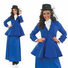 Ladies Victorian Lady Fancy Dress Costume Mary Poppins Nanny Outfit UK 8-30