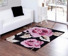 Aspire Zaire Black Pink Floral Design Luxury Rug in various sizes