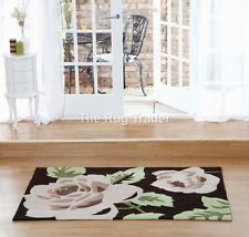 Aspire Zaire Chocolate Brown Green Floral Design Luxury Rug in various sizes