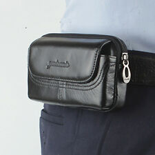 Men Leather Fanny Pack Waist Bag Cell Mobile Phone Case Cover Belt Pouch Purse