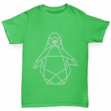 Twisted Envy Boy's Geometric Penguin Rhinestone Diamante T-Shirt