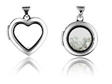 Sterling Silver Window Locket -  Round or Heart Design. Stamped 925 & Pouch