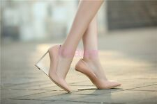 Ladies Chic womens sexy clear Wedge heels pointed toe party shoes Slip on PUmps