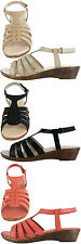 Ladies GLUV Leather Sandals Touch Fastening Back Strap Miami in Black Nude Coral