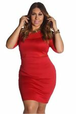 121AVENUE Classy Mesh Sleeve Two Tone Dress 1X 2X Women Plus Size Red Casual