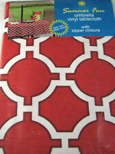 Red Lattice Vinyl Umbrella Tablecloth w/Hole & Zipper Assorted Sizes Obl.& Rd.