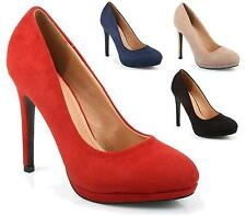 WOMENS LADIES HIGH HEEL SLIM PLATFORM COURT SHOES PARTY PROM PUMPS SIZE 3-8
