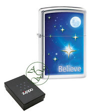 Personalised Zippo Polished Chrome Lighter Stars Believe Engraved Free