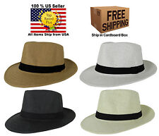 NEW SUMMER STRAW FEDORA TRILBY CUBAN STYLE UPTURN WIDE BRIM CAP HAT