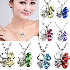 Women Charm Crystal Heart Lucky Four Leaf Clover Shamrock Chain Necklace Jewelry