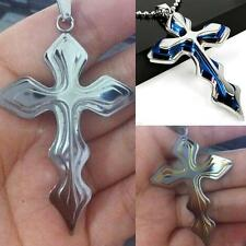 Fashion Unisex Men's Wome'n Silver Stainless Steel Cross Pendant Necklace Chain