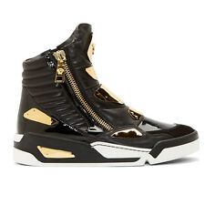 Mens Punk Leather High Top Zip Gold Metal Casual Sneaker Shoes Chic Trainer Boot