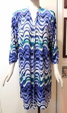 NWT $99 Chico's Travelers Scalloped Stripe Duster Jacket, Dover Blue, Size 3 (L)