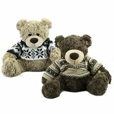 "Kids 12"" Cute Soft Toy Plush Sitting Teddy Bear Knitted Sweater Present Gift"