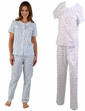 Womens Pyjamas Floral Ladies Slenderella Lace Trim Polycotton Top Bottoms PJ Set
