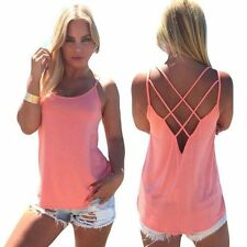 Women's Sexy Loose Strap Hollow Out Back Camisole Tank Tops Casual Cute Vest Top