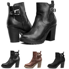 women Pull On Chunky Heel Block Platform Ankle Zip up Chelsea Boots causal Shoes