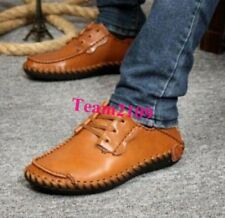 Men's Slip on Sneakers Casual Shoes Leather Lace up Driving Moccasins Shoes