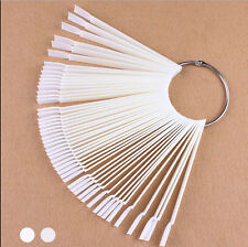 50 False Display Nail Art Fan Wheel Polish Practice Tip Sticks Design Decor Sets