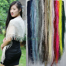 Fashion Women's Crinkled Plaid Funky Lace Tassel Solid Color Triangle Scarf New
