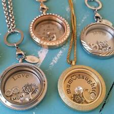 Floating Charm / Living Memory Locket Necklace Set. Silver Gold. Mother Mum Gift