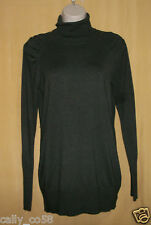 Vivienne Tam women's military olive green ls turtle neck sweater tunic top L $78