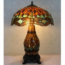 Green & Amber Dragonfly Art Deco Tiffany Style Stained Glass Table Lamp