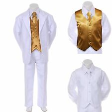 Boy Teen Formal Wedding Party Prom Church White Suit Tuxedo + Gold Vest Tie 8-14