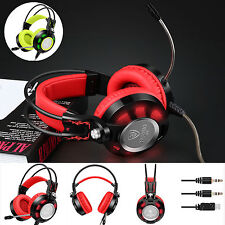 3.5mm Pro Gaming Headset with Mic Stereo Game Headphones Handband LED USB for PC