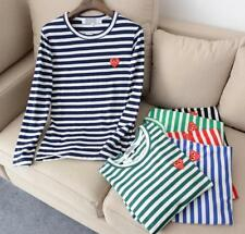 New Men's Comme Des Garcons CDG Play Striped Red Heart Long Sleeve Tee T-shirts