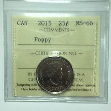 2015 Canadian Twenty-Five Cent Coin ICCS Graded MS-66 Poppy