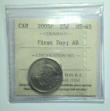 2005P Canadian Twenty-Five Cent Coin ICCS Graded MS-65 First Day Alberta