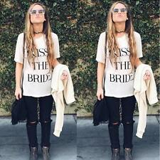 Fashion Women's Summer Short Sleeve Blouse Casual Letter T Shirt Tops White S-XL