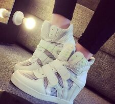 Womens Wedge Heeld Casual Ladies Lace Up Shoes Mesh Ventilation Sneakers Fashion