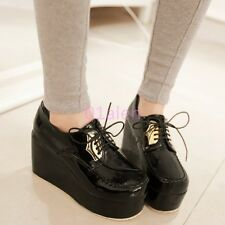 Womens High Platform WEdge Heel Lace Up Creepers Faux Leather Pumps Punk SHoes