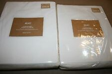 "2 NEW WEST ELM VELVET CURTAINS DRAPES 48"" x 124"" IVORY NWT POLE POCKET SET OF 2"