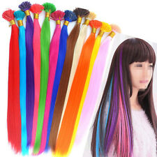 """Lot Cosplay Party Colorful Synthetic Fiber Feather I Tip Hair Extensions 16"""""""