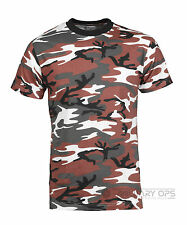 Military Red Camo Urban Camouflage Camo T Shirt US Army 100% Cotton