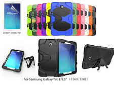Heavy Duty Shock Proof case w/kick stand/Screen Protector For Galaxy Tab E 9.6""