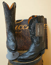 MENS LUCCHESE EXOTICS WESTERN COWBOY BOOT! FULL QUILL BLACK OSTRICH! N1063.54!