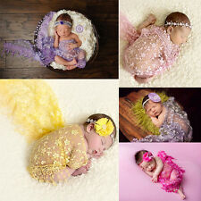 New Infant Baby Tassels Lace Newborn Photo Prop Rose Textured Cheesecloth Wrap