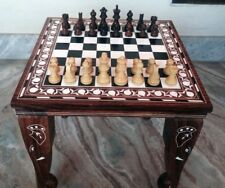 "15"" Chess Board Table Elephant Hand Carved Inlaid Work Square Rosewood Foldable"
