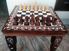 "12"" Chess Board Table Elephant Hand Carved Inlaid Work Square Rosewood Foldable"