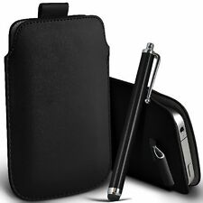 PU Leather Pull Tab Pouch Case & Large Pen for Alcatel Idol Mini