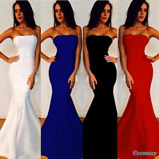 Women Strapless Bandeau Slim Maxi Formal Prom Party Ball Gown Evening Long Dress