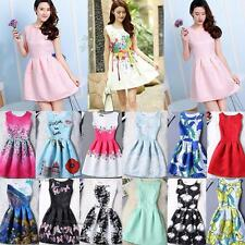 Formal Womens Bodycon Digital Print Gown Evening Party Mini Swing Princess Dress