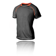 2XU Tech Vent Mens Grey Black Short Sleeve Crew Neck Running T Shirt Tee Top