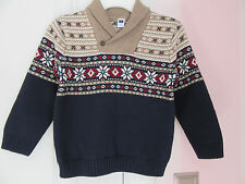 NWT Janie and Jack Boys Railway Dapper Navy Fair Isle Sweater Sizes 4 & 6