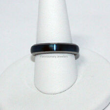 Tungsten Carbide Ring Wedding Band 4mm Satin Blue IP Dome Natural Bevel Edge